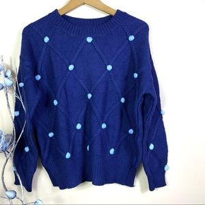 NEW Anthropologie Pom Quilted Pullover Sweater